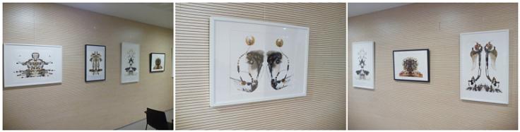 """Imatges de l'exposició """"Processos intuïtius de creació"""" d'Ismael Lozano a la biblioteca"""