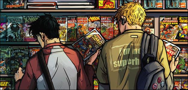 Il·lustració de dos joves mirant còmics