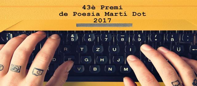 Imatge de mans amb màquina d'escriure i nom del premi
