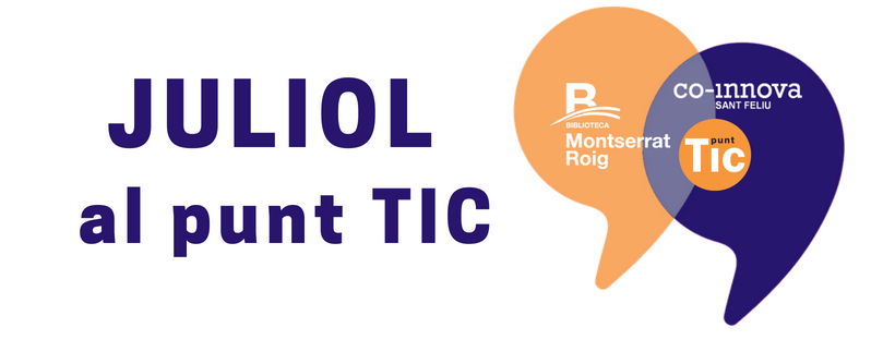 """Logos de la biblioteca i co-innova i text """"Juliol al punt TIC"""""""