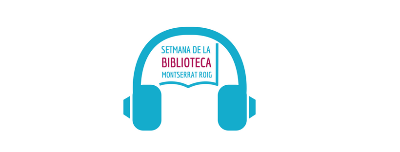 Logo de la setmana de la biblioteca i auriculars
