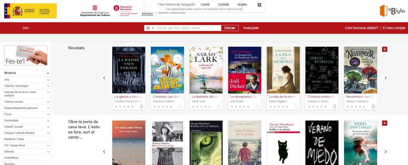 Imatge del portal eBiblio, el servei de préstec de llibres electrònics de la Xarxa Municipal de Biblioteques