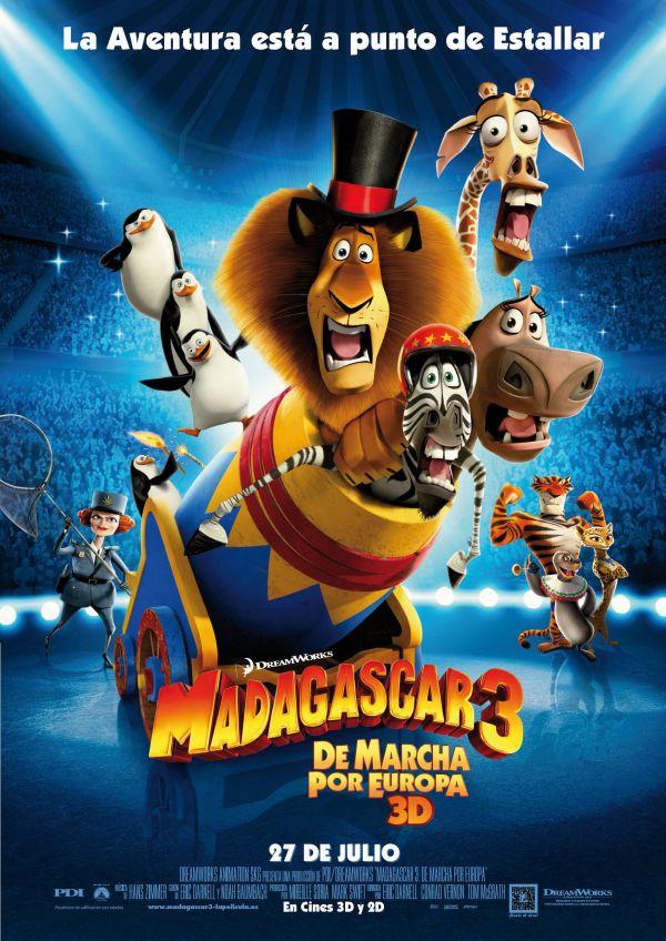 Imatge del cartell de la pel·lícula infantil Madagascar 3