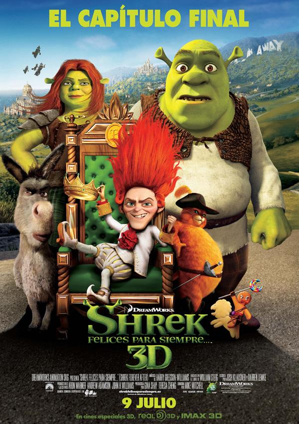 Imatge del cartell de la pel·lícula infantil Shrek. Felices para siempre