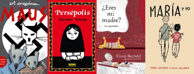 Imatge amb les portades de quatre còmics autobiogràfics: Maus, Persépolis, ¿Eres mi madre? i María y yo