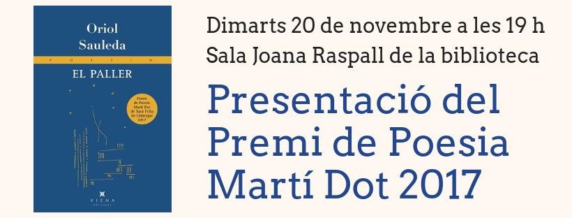 Imatge de la Presentació del Premi de Poesia Martí Dot
