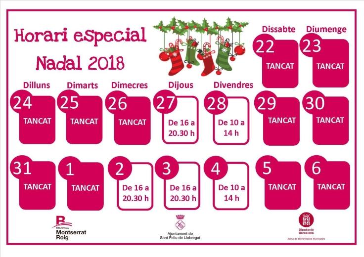Imatge amb L'Horari de Nadal 2018