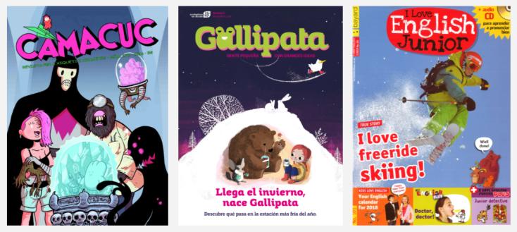 Imatge amb les portades de tres revistes infantils