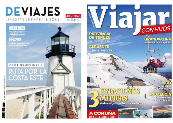 Imatge amb les portades de les revistes DeViajes i Viajar con hijos