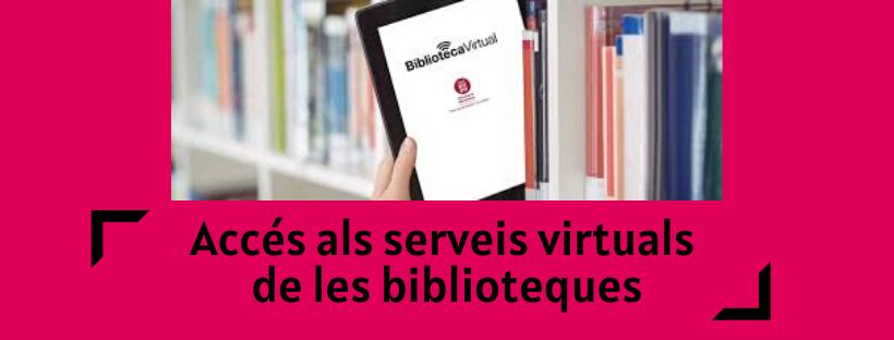 Imatge amb el text Accés als serveis virtuals de les biblioteques i il·lustració relacionada