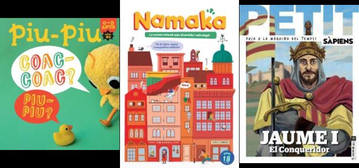 Imatge de les portades de 3 revistes infantils