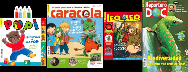 Imatge de les portades de 4 revistes infantils