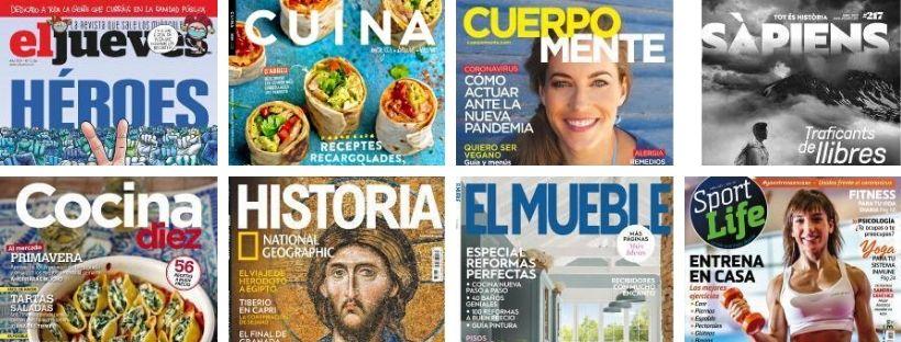 Imatge de les portades d'algunes revistes que es troben a eBiblio