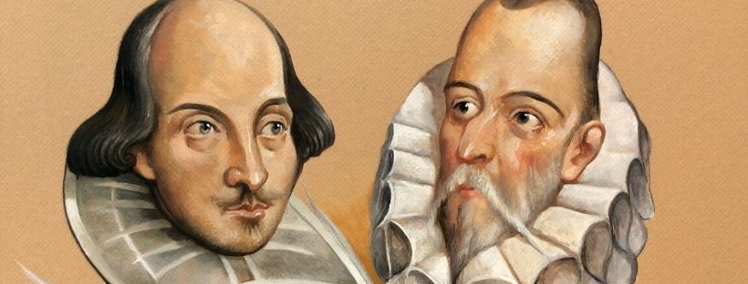Imatge dels escriptors William Shakespeare i Miguel de Cervantes