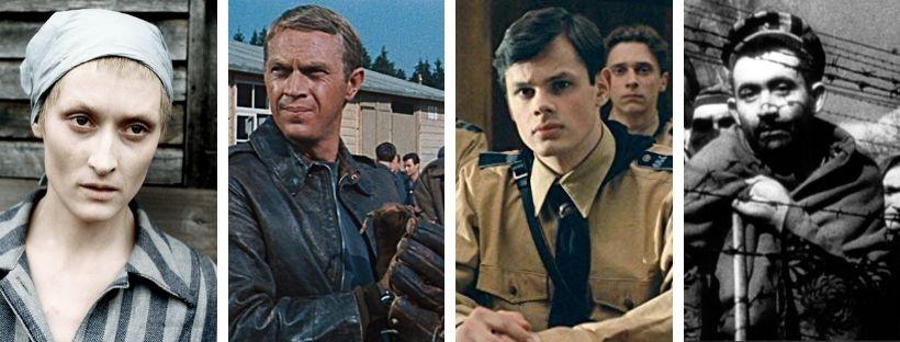 Imatge de fotogrames de quatre pel·lícules sobre la Segona Guerra Mundial i els camps de concentració nazis