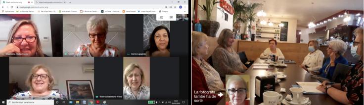 Dues imatges de l'activitat Escriure en català