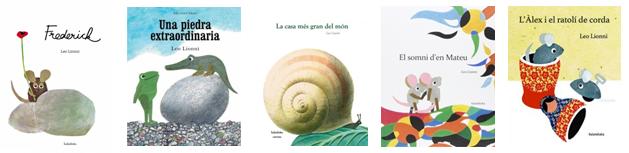 Imatge amb les portades de cinc llibres destacats de Leo Lionni