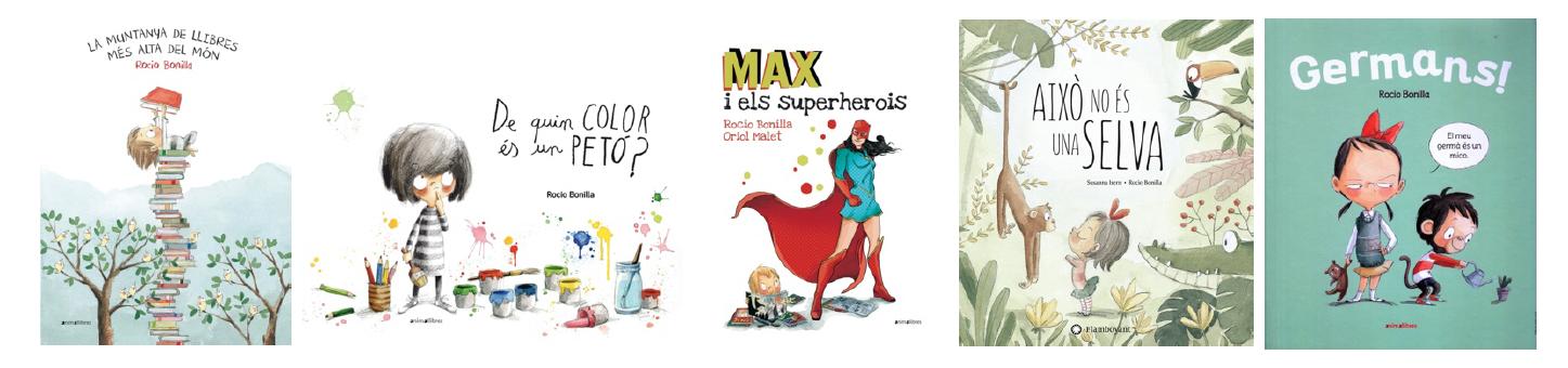 Imatge amb les portades de cinc llibres destacats de Rocío Bonilla