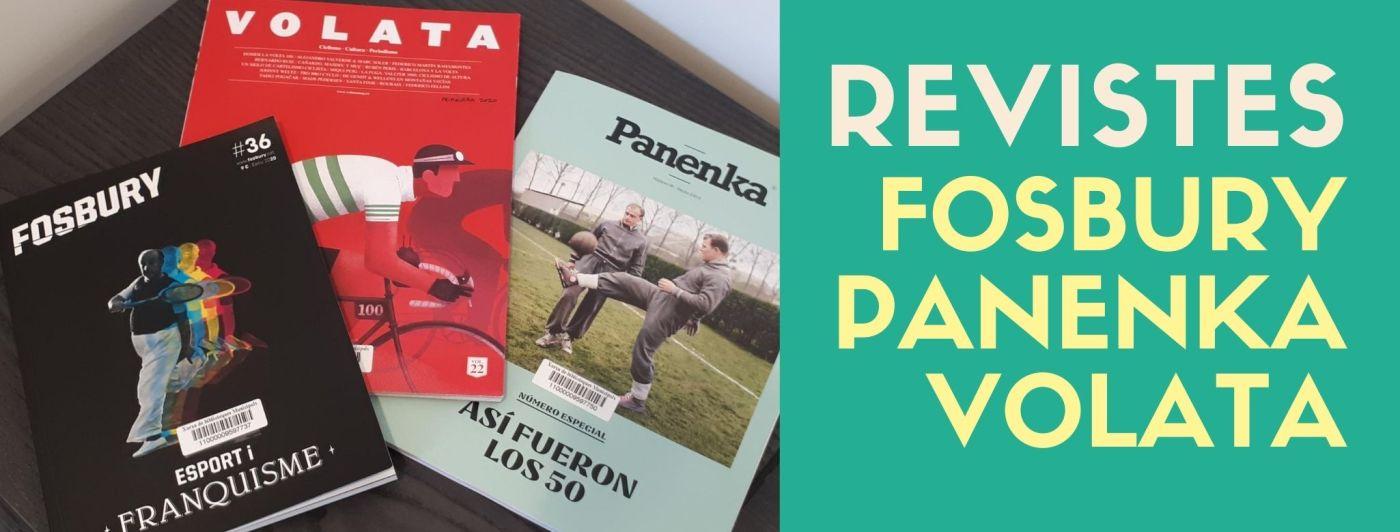 Imatge amb les portades de les revistes Fosbury, Panenka i Volata