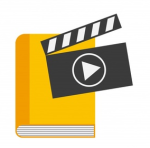 Imatge amb llibre i símbol de vídeo