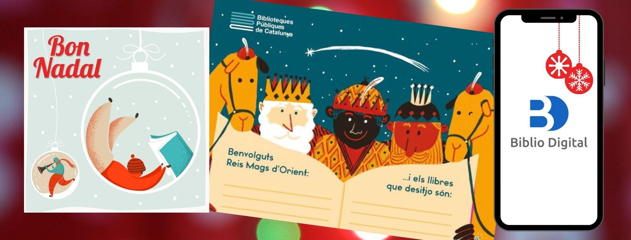 Imatge amb tres imatges: especial Nadal de la XBM, carta dels reis i telèfon mòvil amb el logo de Biblio Digital