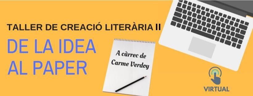 Imatge amb el títol de l'activitat: Taller de creació literària II