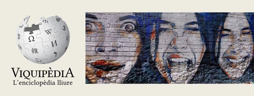 Imatge que inclou el logo de Viquipèdia i una fotografia d'un fragment d'un graffitti amb tres cares de dones