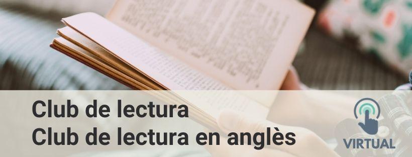 Imatge que inclou el text Club de lectura, Club de lectura en anglès, Virtual