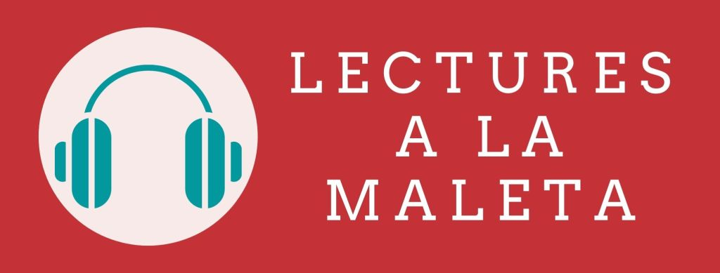 Imatge amb el text Lectures a la maleta i una icona d'auriculars