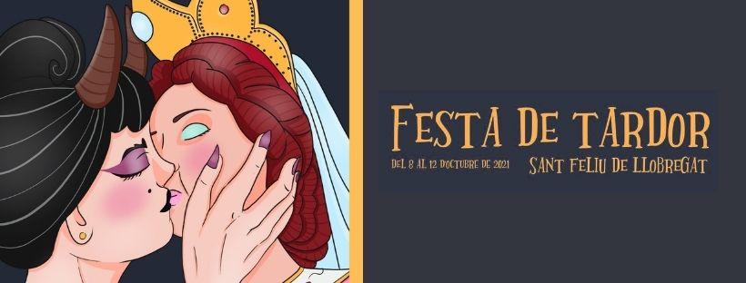 Imatge amb el cartell de la Festa de Tardor i el text Festa de Tardor, del 8 al 12 d'octubre de 2021, Sant Feliu de Llobregat